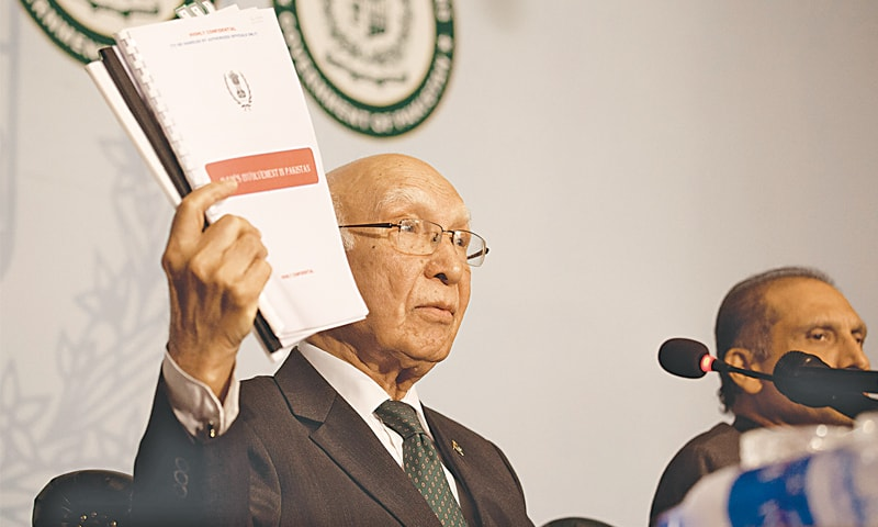 Sartaj Aziz shows dossiers about RAW's involvement in acts of terror in Pakistan.—White Star