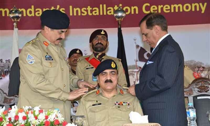 COAS pinning badges to formally install  Lieutenant Gen Zamir Ul Hassan Shah, Adjutant General Pakistan Army  as Colonel Commandant of Army Air Defence. ─ Photo courtesy: ISPR