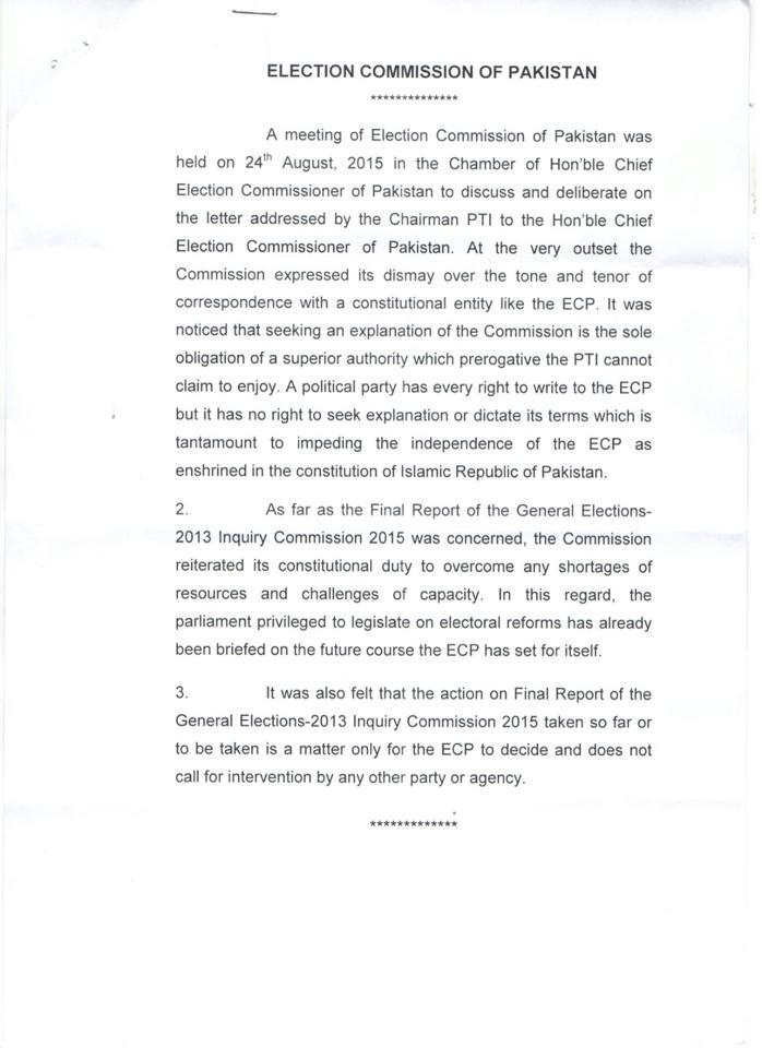 A copy of the ECP's response to Imran Khan.