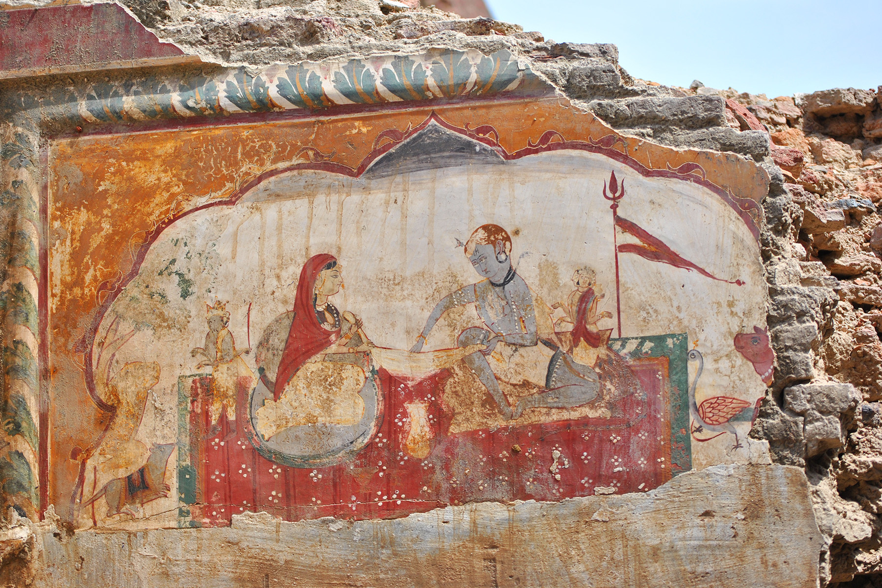 The interior and facades were painted with different subjects, including the gods and goddesses of the Vedic pantheon.
