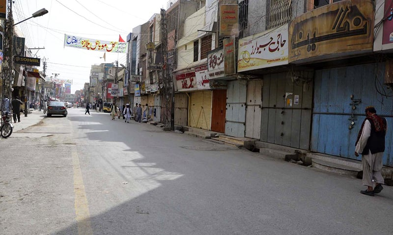 QUETTA: A view of closed shops in Liaquat Bazaar during a strike here on Wednesday.—Online