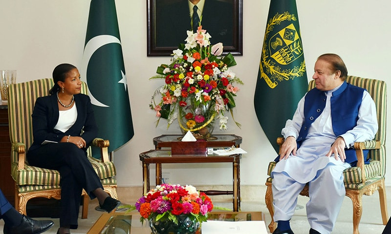 PM Nawaz apprised US NSA Susan Rice of reasons behind cancellation of talks between India and Pakistan's NSAs. —PID