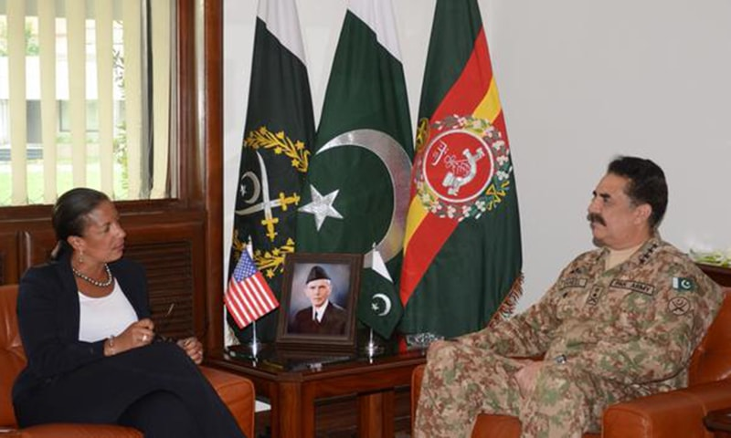 Army Chief Gen Raheel Sharif in a meeting with US NSA Susan Rice at the GHQ on Sunday, Aug 30, 2015. – Photo courtesy ISPR