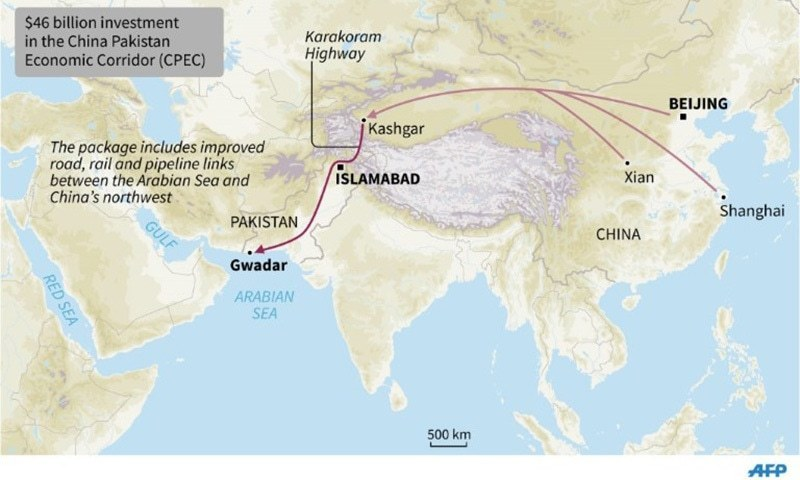 The CPEC and its strategic geographical position, he said, would help Pakistan emerge as trading hub.—AFP/File