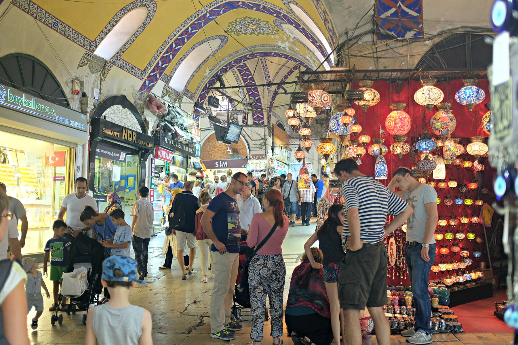 The Grand Bazaar is a favourite with tourists for buying Turkish lamps and other souvenirs.