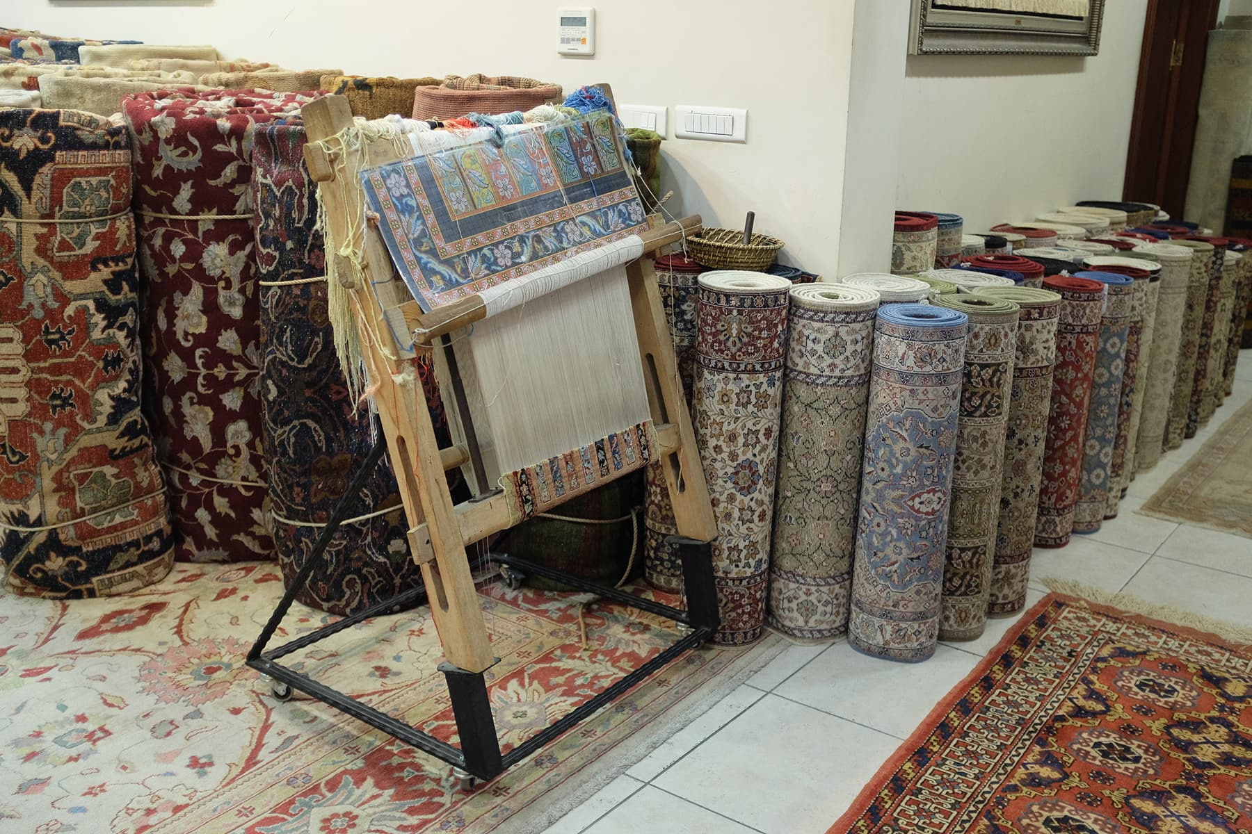 A contemporary rug shop is set up on top of the cistern now.