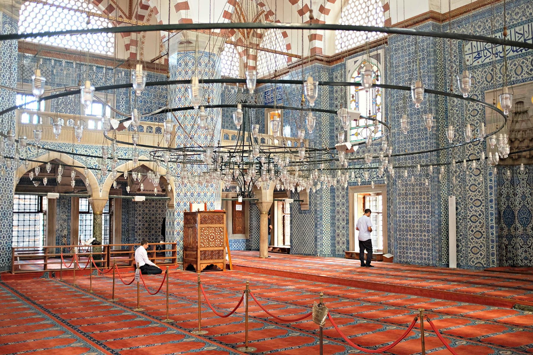 Locals offer prayers at Rustem Pasha Mosque.