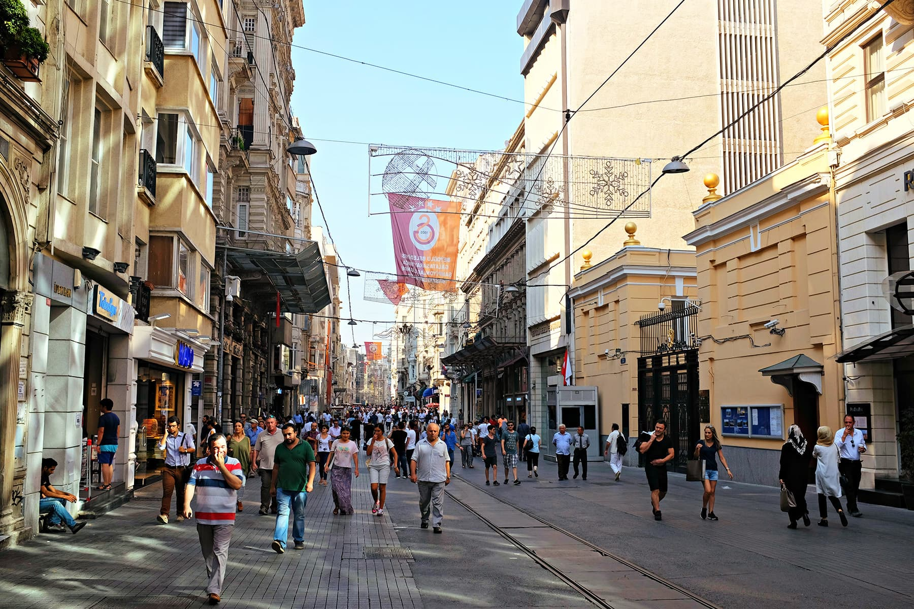 A view of Istiklal Street during the day.