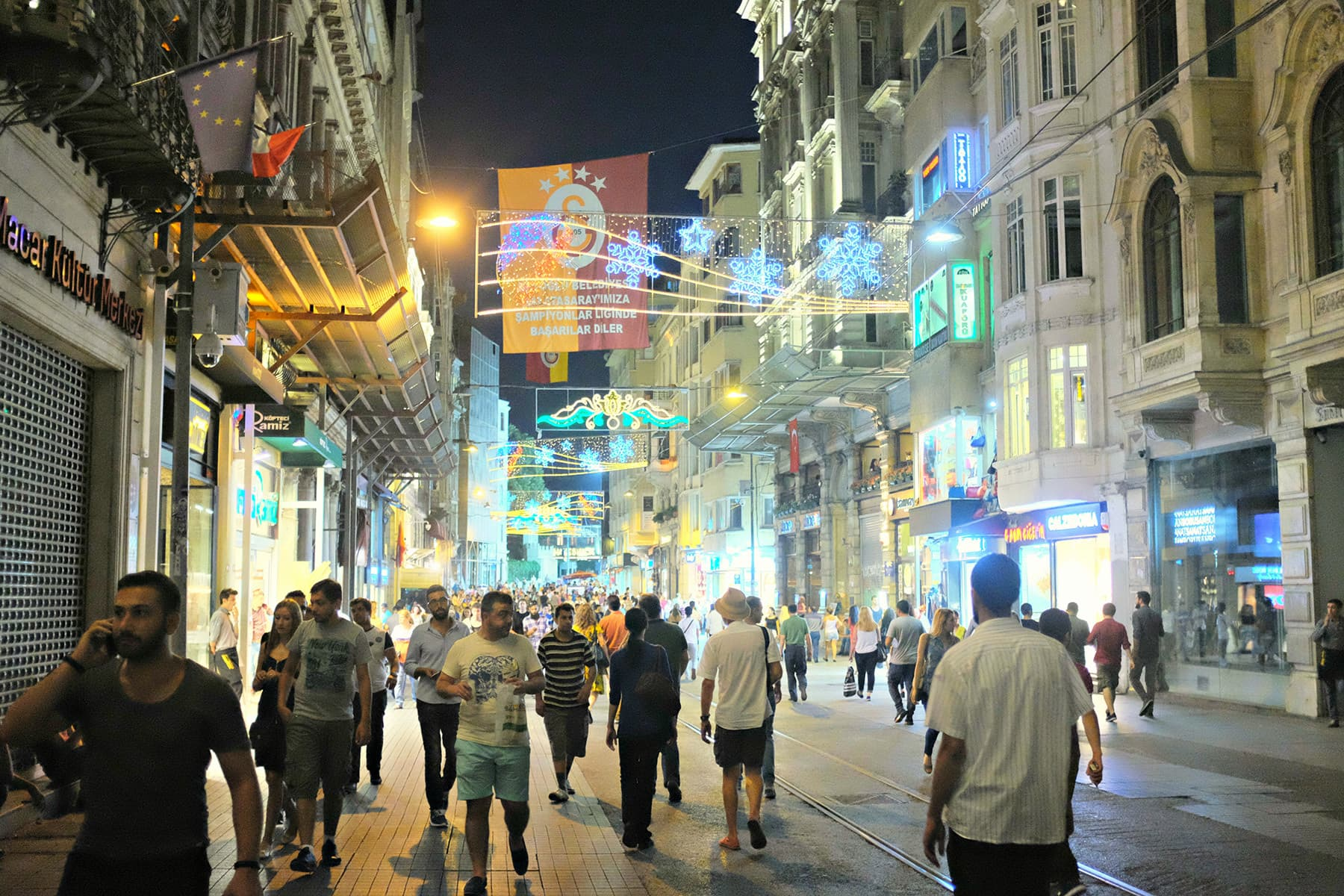We reach Istiklal back after sunset.