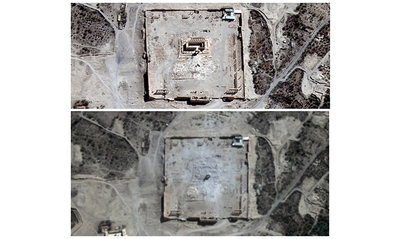 Combination picture shows the site of the Temple of Bel before (top) and after its apparent destruction in Palmyra, Syria, in this August 27, 2015 and August 31, 2015 handout satellite images. ─ Reuters/File