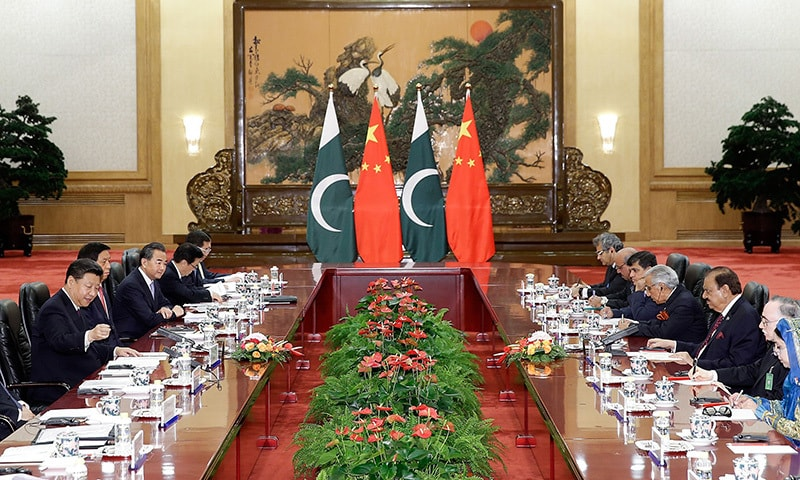 China's President Xi Jinping (L) meets with Pakistan's President Mamnoon Hussain (3rd R) at the Great Hall of the People in Beijing on September 2, 2015. —AFP