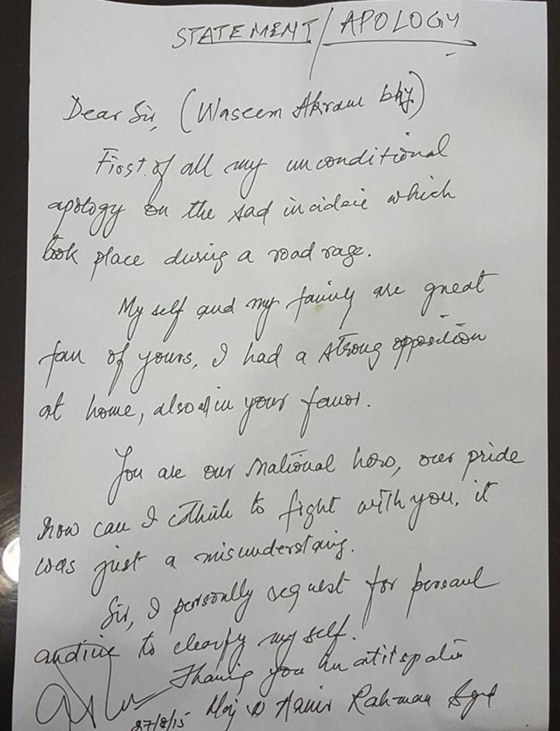 A Screengrab Of The Apology Letter Written To Wasim Akram €� Dawnnews