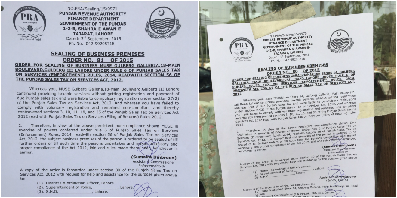 The Punjab Revenue Authority's notice on the front door of Muse (L) and Zara Shahjahan (R)