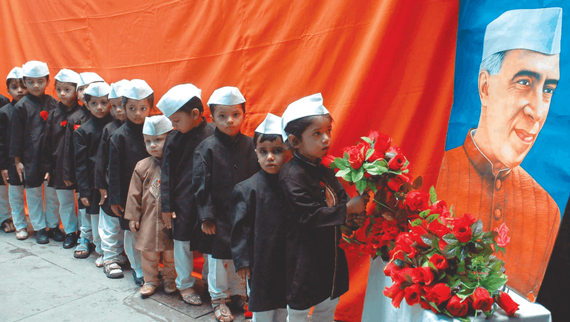 Children dressed as Jawaharlal Nehru on his birth anniversary celebrated across India as  Children's Day.	—Reuters
