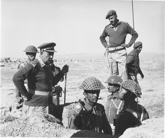 Army Chief Gen Musa visiting infantry elements in their trenches during one of his inspection visits. — Dawn File Photo
