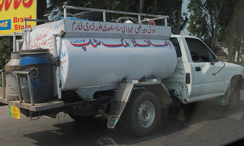 A milk carrier outside Lahore