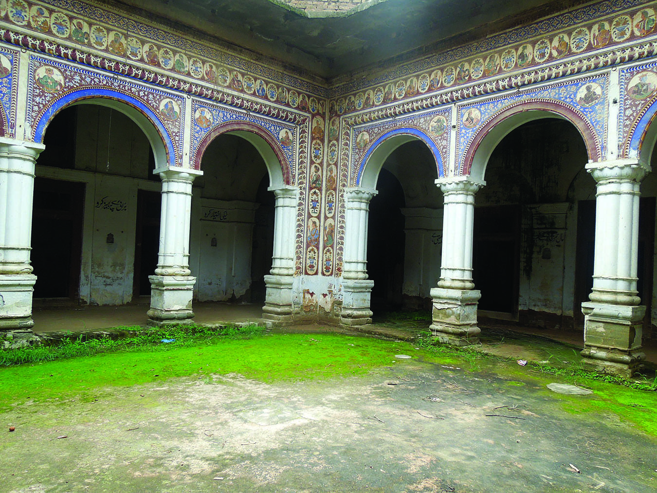 The central courtyard with beautifully adorned pillars.