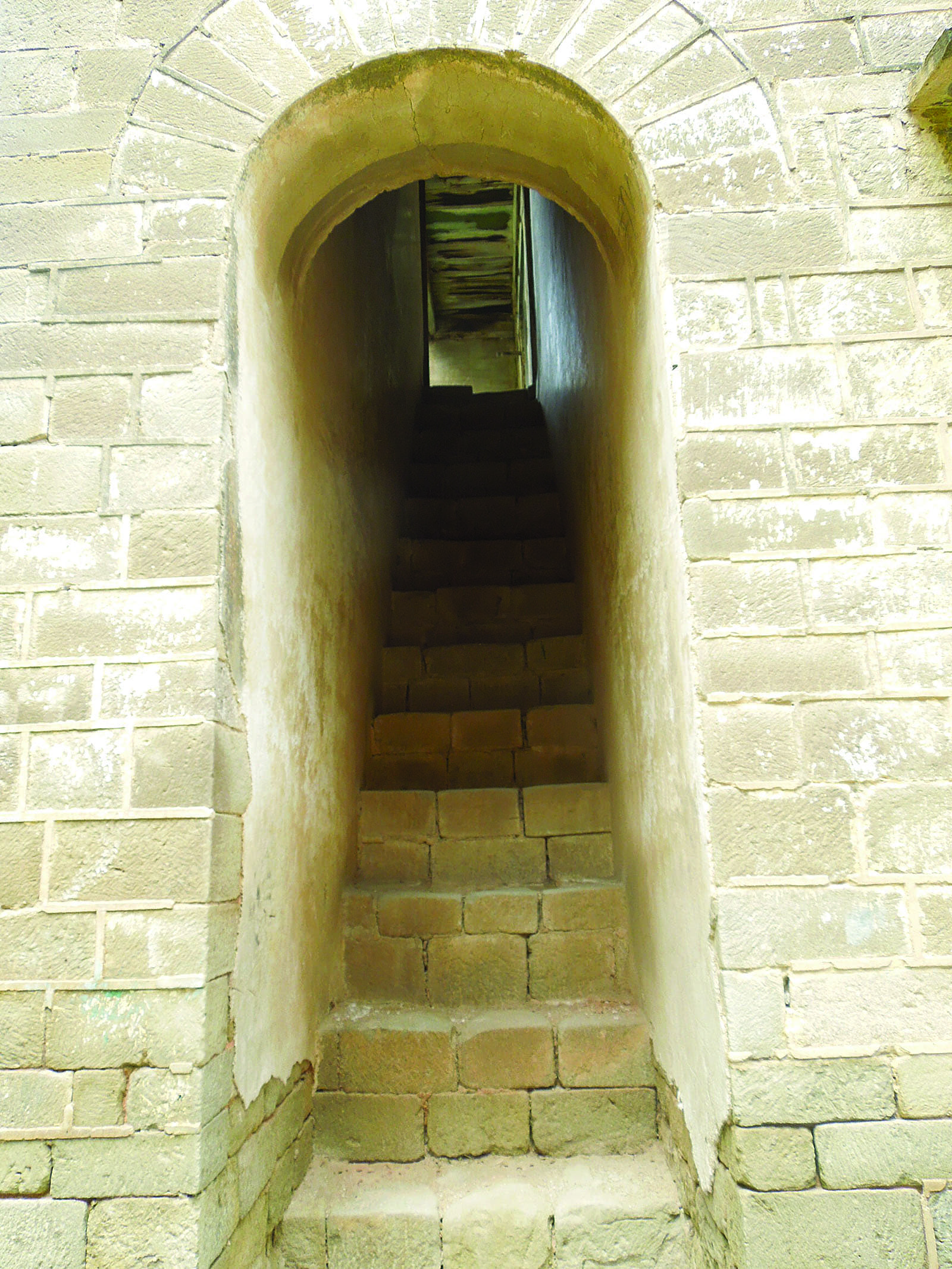 A beautifully built stone staircase that leads to the upper levels.