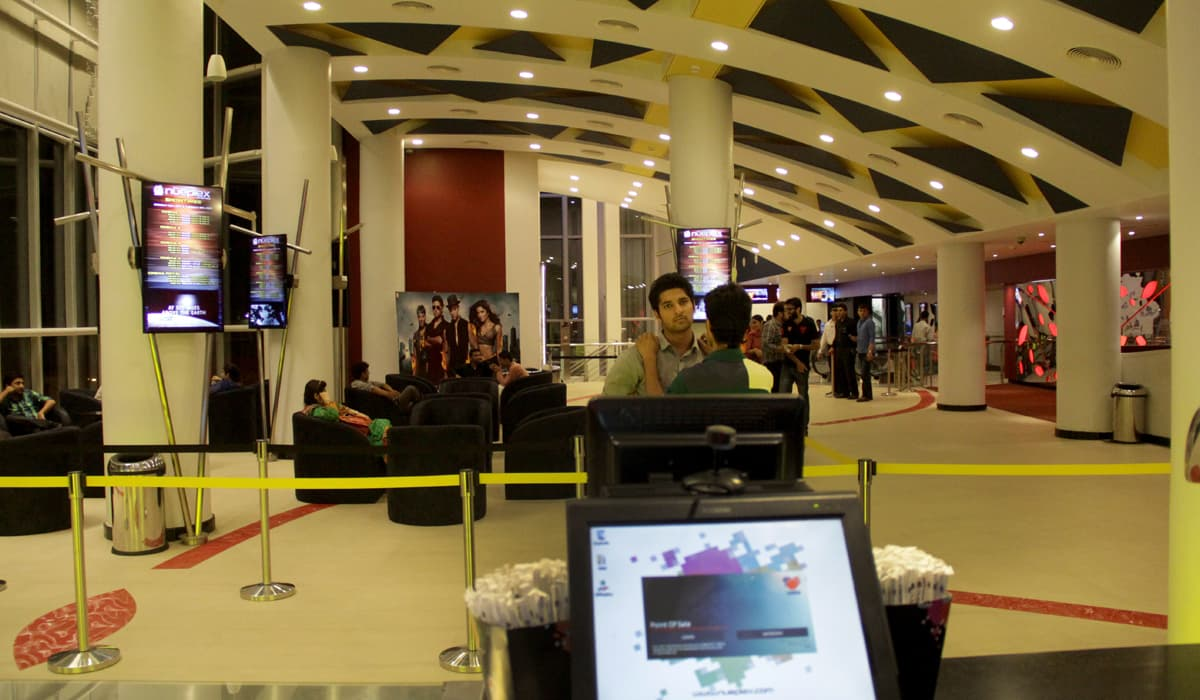 A view of the waiting area of Nueplex Cinema, Karachi | Hussain Afzal, White Star