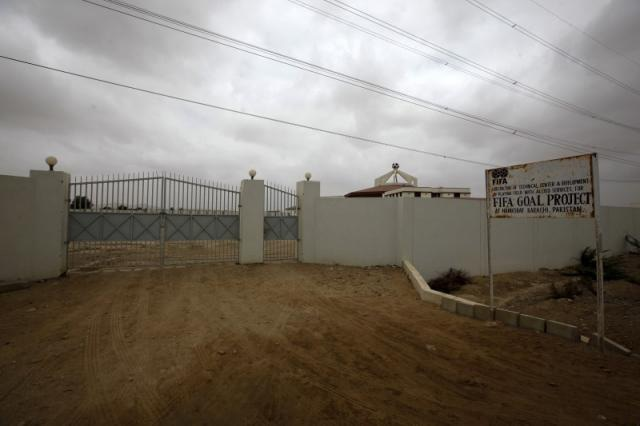 The entrance of the FIFA Goal Project site at Hawkes Bay, Karachi, July 15 2015. — Reuters