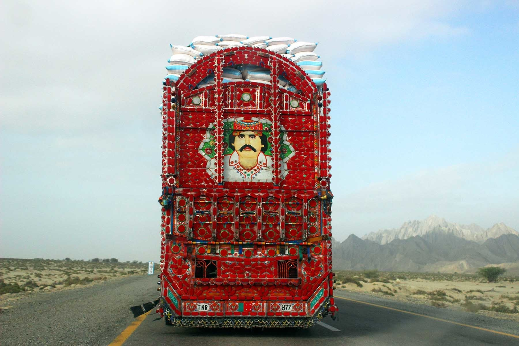 A truck driver has painted his portrait at the back of his truck.