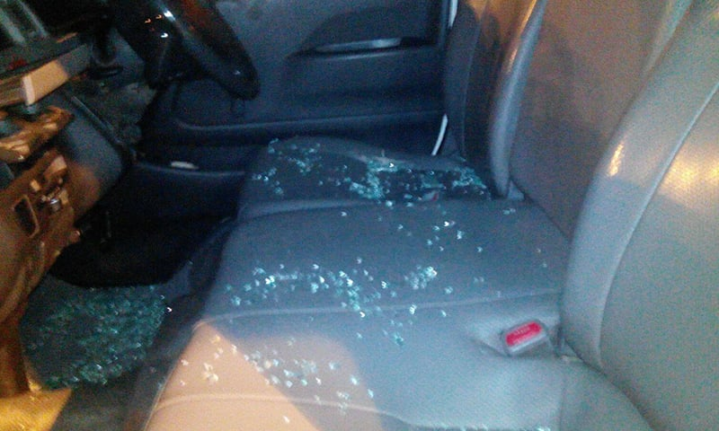 An inside view of the Geo News DSNG vehicle that was attacked Tuesday night. – DawnNews