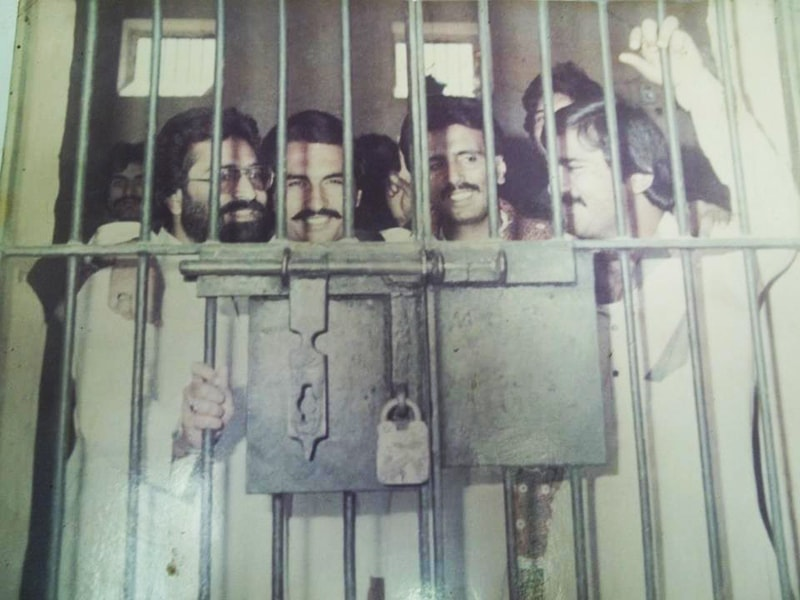 A jail cell in Nawabshah, Sindh, packed with MRD activists in 1983.