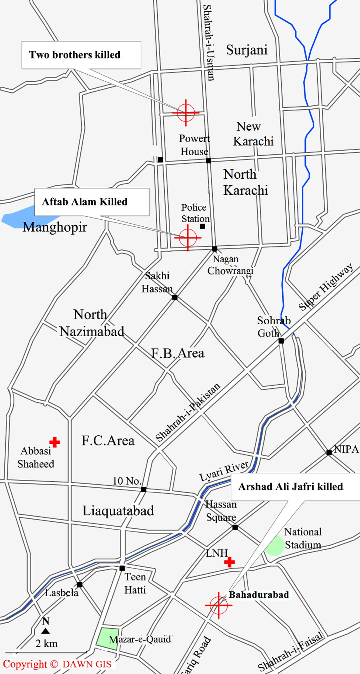 Location map for violence during last 36 hours in District Central of Karachi.