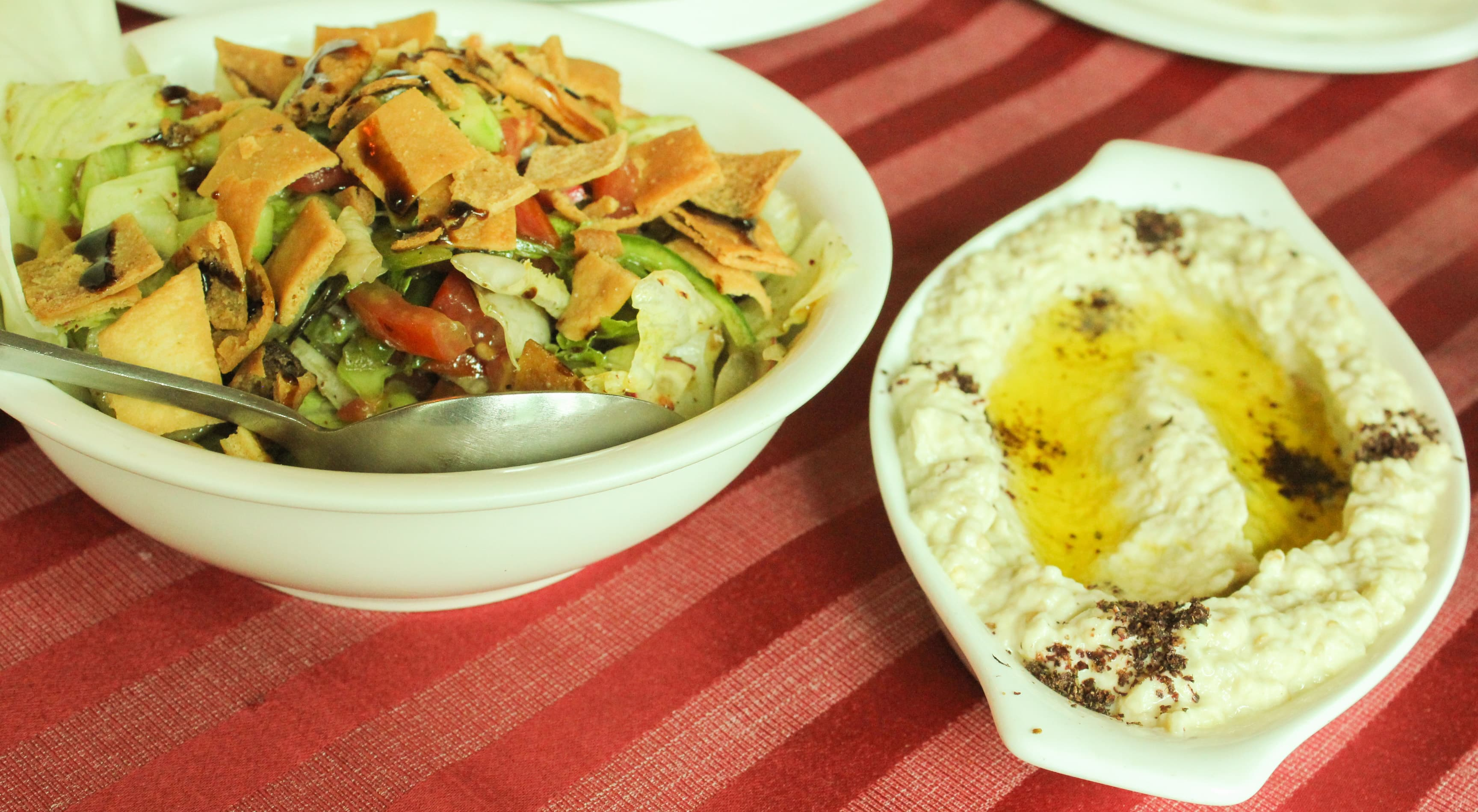 Fattoush (left) and Mutabbal (right) are some of the Lebanese delicacies that are a must-try at Karam Lebnan — Photograph by the author