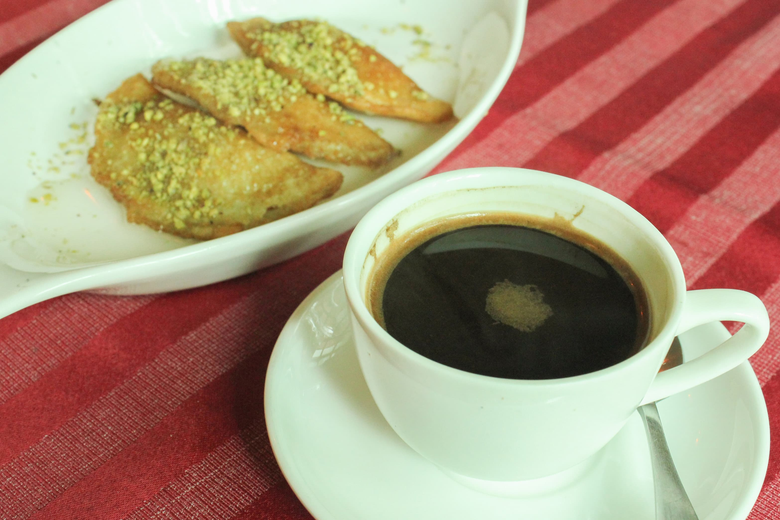 Kitayef and Turkish coffee is the perfect way to end a meal — Photograph by the author