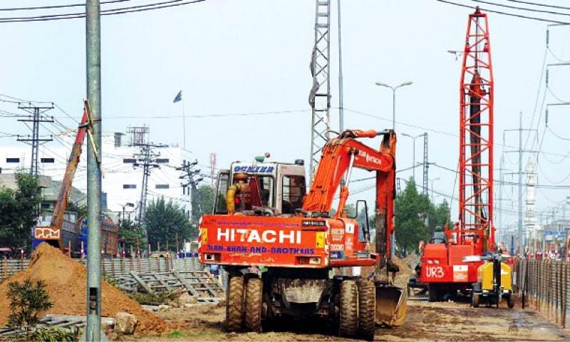 Piling work for Orange Line Metro Train Project is under way at Salamatpura near the Quaid-i-Azam Interchange. —White Star