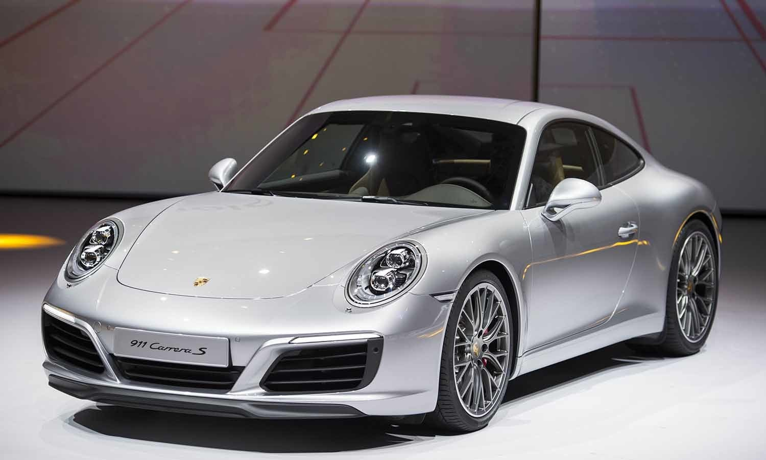 The new Porsche 911 Carrera S is presented during the Volkswagen group night. ─ AFP