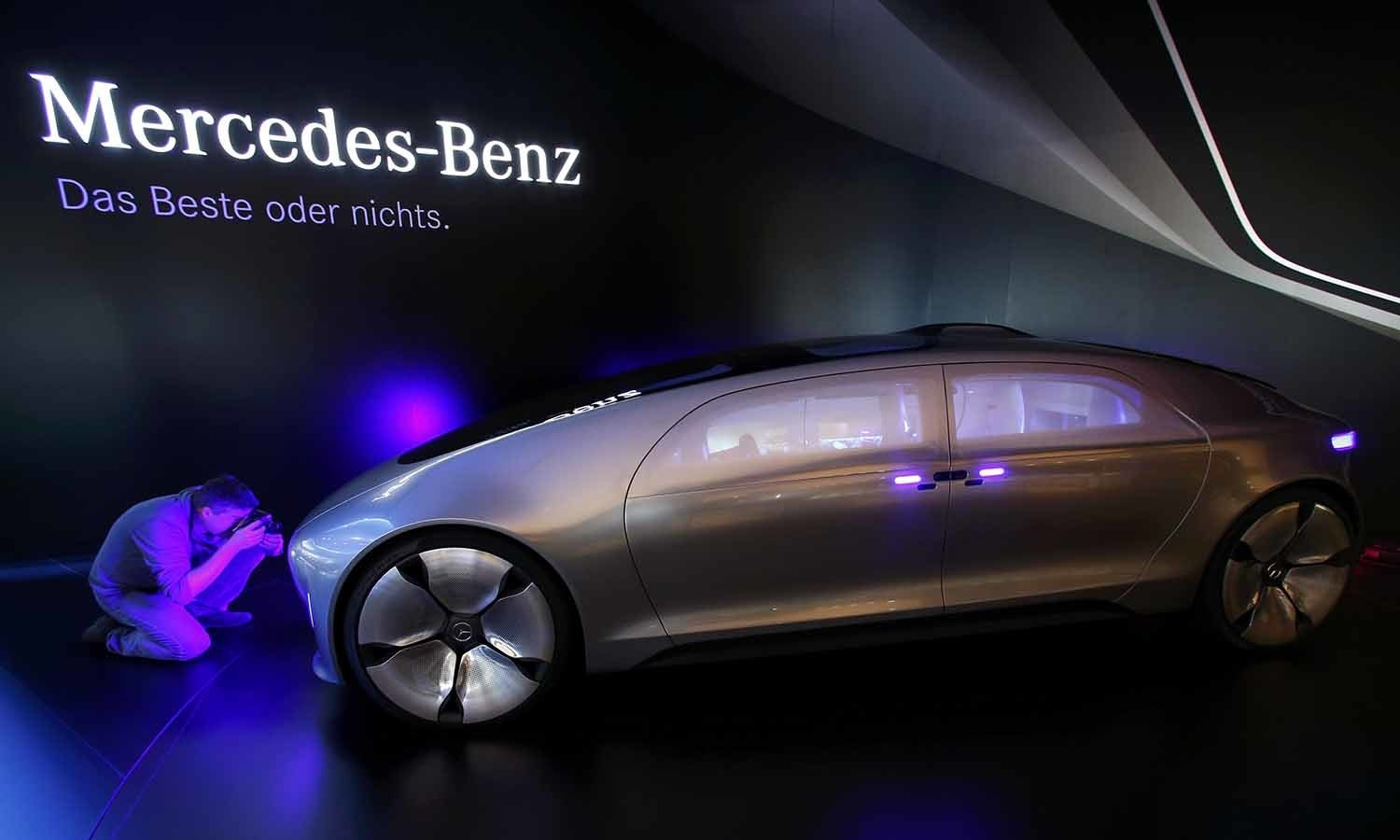 The Mercedes-Benz F 015 Luxury in Motion concept car is pictured at the booth of Mercedes-Benz during the media day at the Frankfurt Motor Show (IAA). ─ Reuters