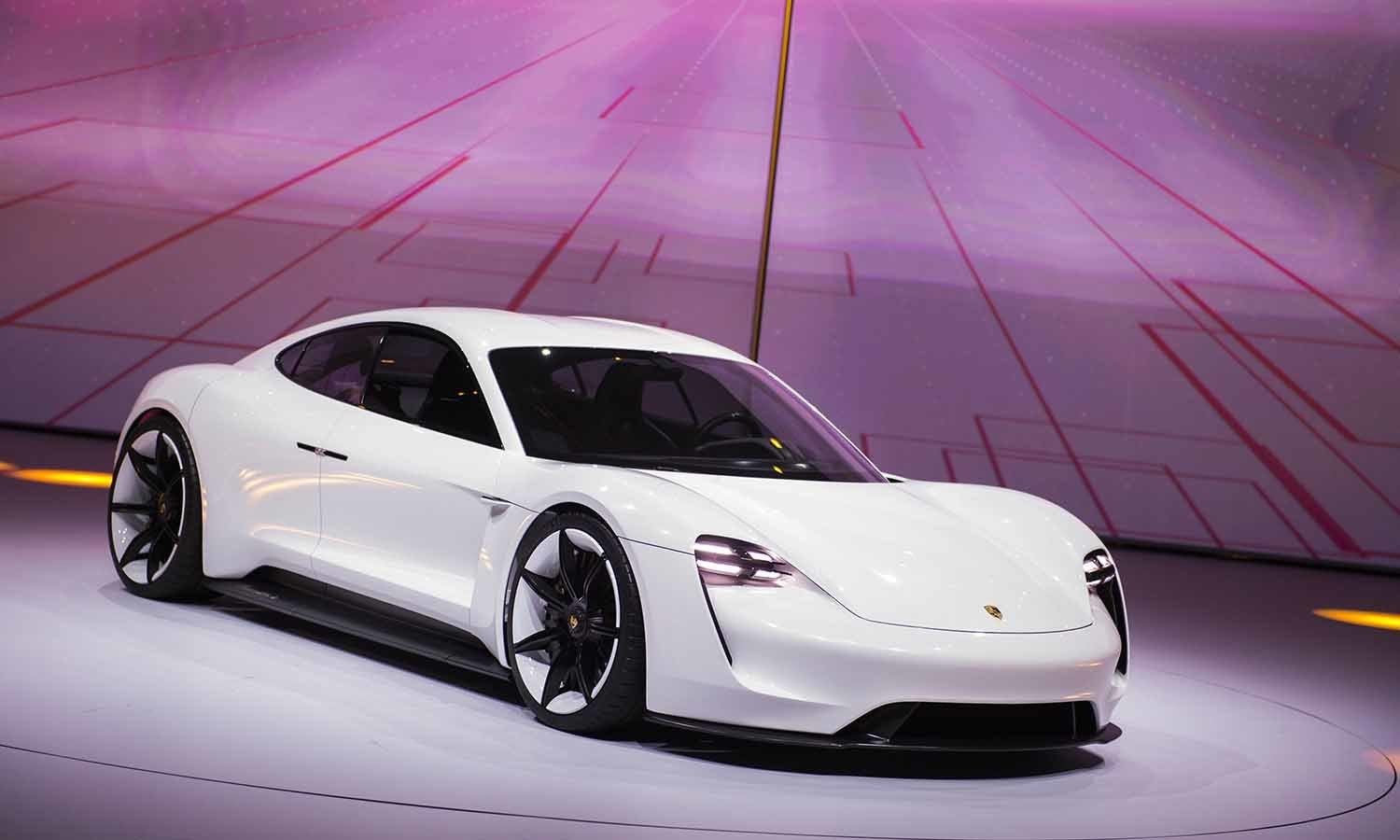 The new electric Porsche Mission E concept car is presented during the Volkswagen group night. ─ Reuters
