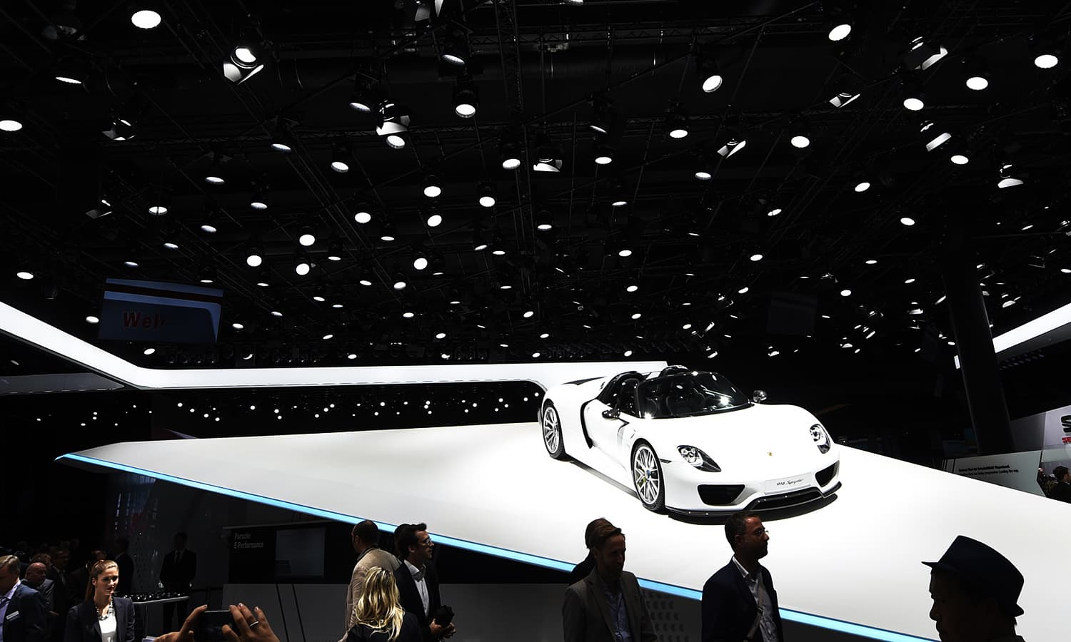 A Porsche 918 Spyder is displayed on the first press day of the Frankfurt Auto Show IAA. ─ AP