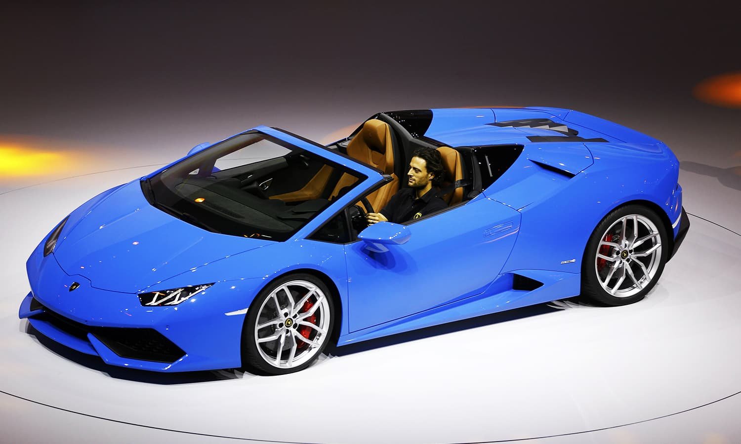 Lamborghini Huracan LP 610-4 Spyder is presented during the Volkswagen group night ahead of the motor show. ─ AFP