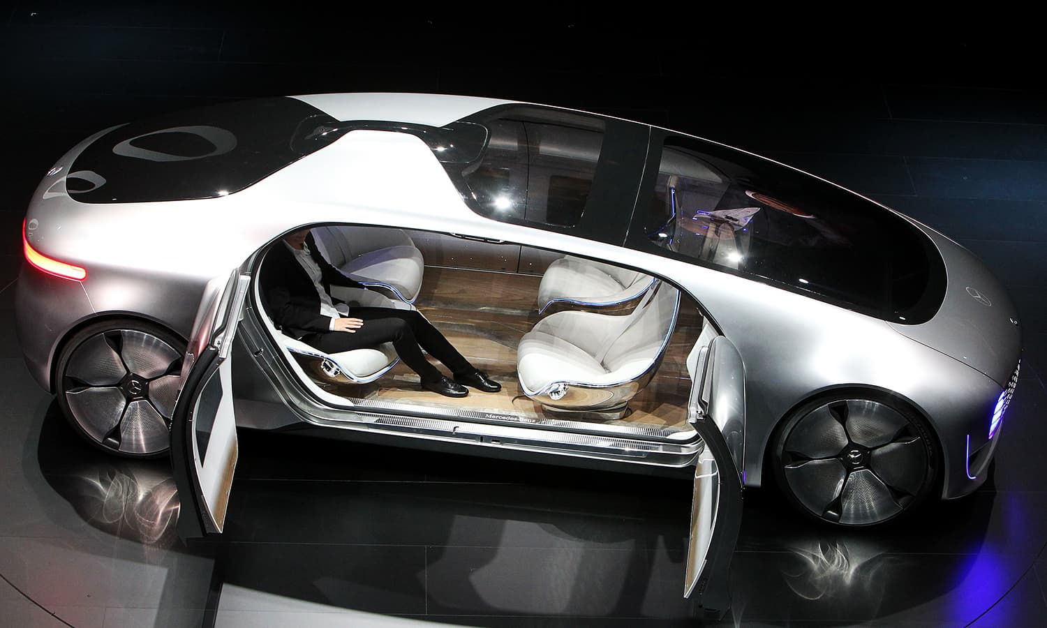 A Mercedes show car is pictured during a preview exhibition of the Frankfurt Motor Show (IAA). ─ AFP