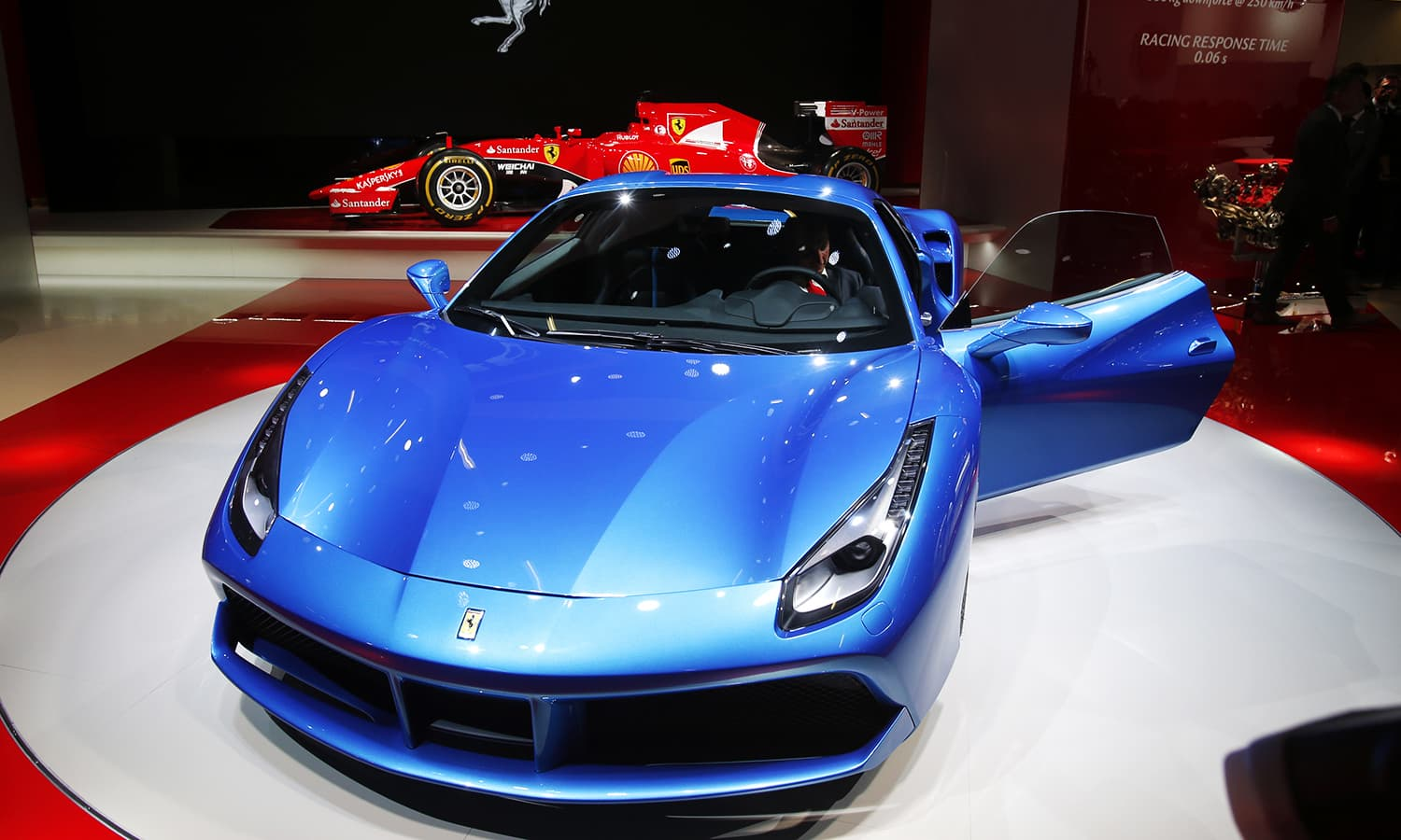 The new Ferrari 488 Spider is presented on the first press day of the Frankfurt Auto Show. ─ AP
