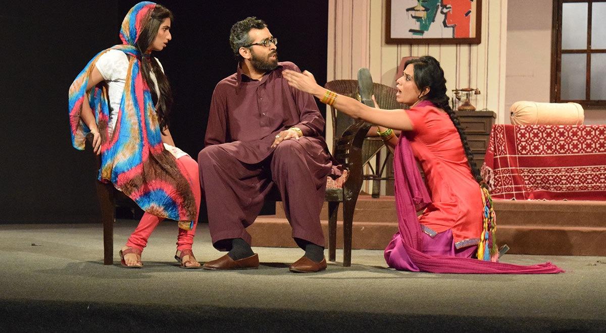 Azam tries to convince Maryum to marry Baba as Marjeena intervenes. — Photo by Laila Raza