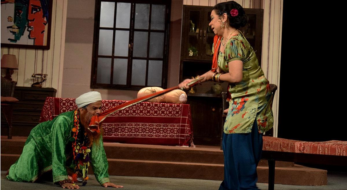 Alveena tries to get away from a lustful Baba. — Photo by Laila Raza