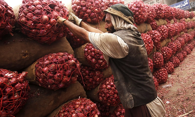 A labourer moves sacks of onions to a truck bound for Afghanistan at a transit depot in Peshawar, September 15, 2015. — Reuters