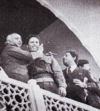 1974 میں کرنل قذافی وزیرِ اعظم بھٹو کے ساتھ لاہور میں۔