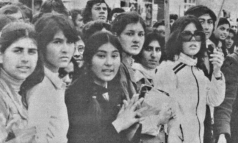 Students at the Kabul University hail the 1978 'communist revolution' in Afghanistan. The 'revolution' triggered infighting between two factions of the country's largest communist party and was only 'stabilised' by Soviet forces that entered Kabul in 1979.