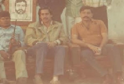 Murtaza (centre) with Tipu (right) at the AZO headquarters in Kabul (1981).
