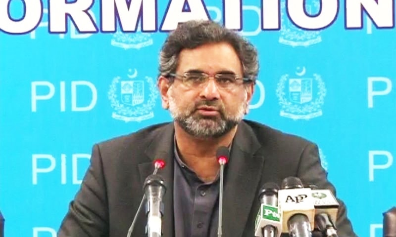 Khaqan Abbasi claims LNG imports would be a game-changer for Pakistan.—DawnNews screen grab/File