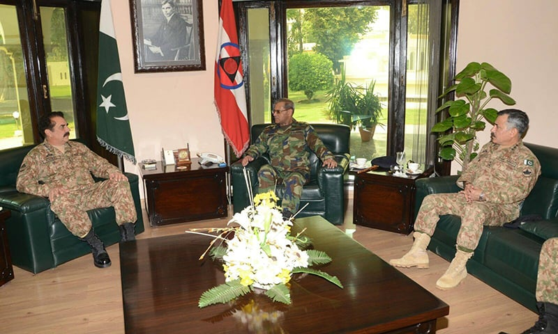 COAS, Chief of Air Staff and Corps Commander meet at Core Headquarters. ─ Photo: ISPR Official Facebook page.