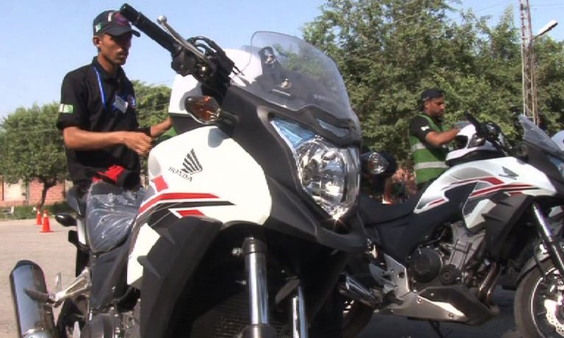 The new 500cc motorbikes delivered to the Dolphin Force. — Photo courtesy: DawnNews screengrab