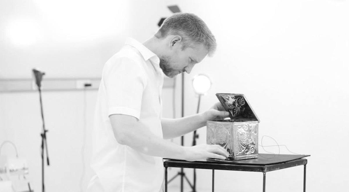 Sound artist, Chris Weaver fixes a box. — Photo courtesy: Jamal Ashiquain