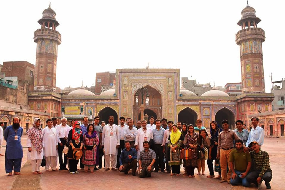 Participants of the Harappa International Conference on a visit to Wazir Khan Mosque in Lahore.