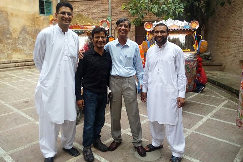 With my young fans in Old Lahore, from Left to Right: Farasat Ali Shah Bukhari, Asim Mirza, self, and Khalid Hussain Majeed.